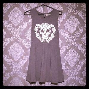 Badass girly skull & rose printed dress